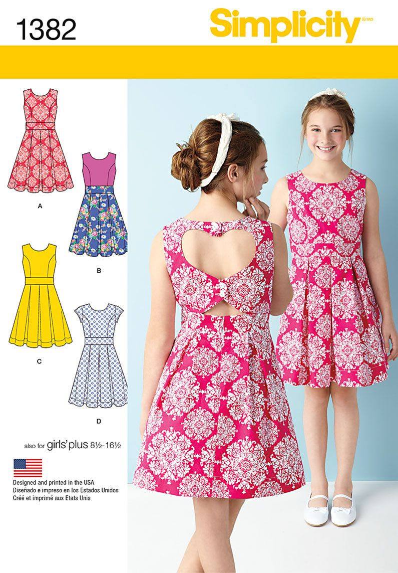 Simplicity 1382 Girls'/Girls' Plus Dress with Back Variations ...