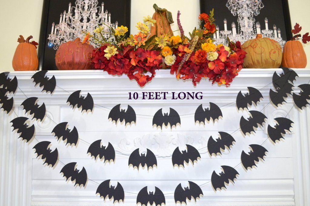 Bat garland 10 feet, Halloween Decorations, Halloween Party Decor - how to decorate for halloween party