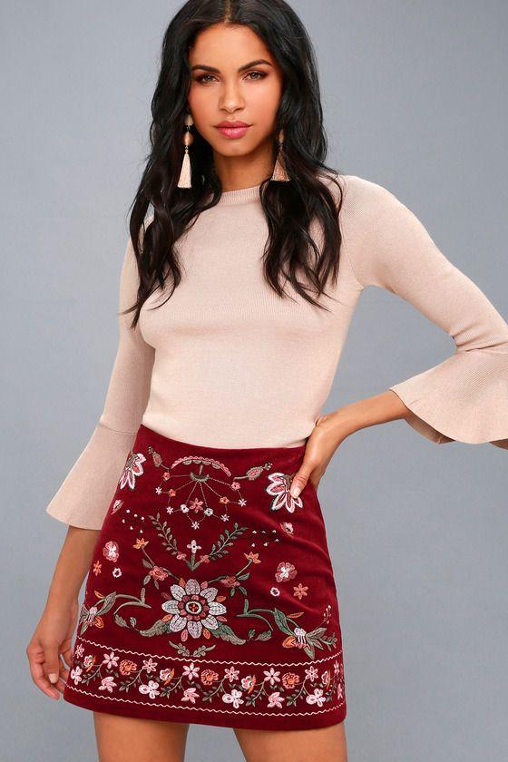 e497c909f0 Mountain High Burgundy Embroidered Corduroy Mini Skirt in 2019 ...