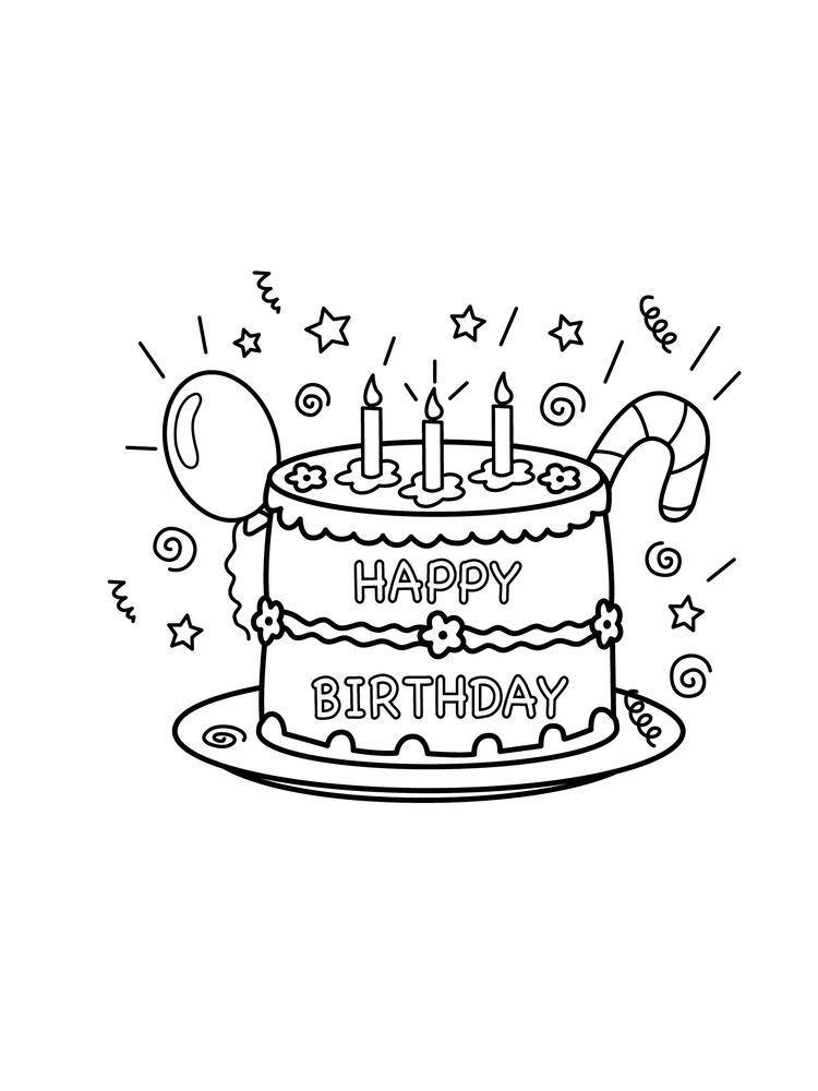 Birthday Cake Coloring Pages To Print Di 2020 Dengan Gambar