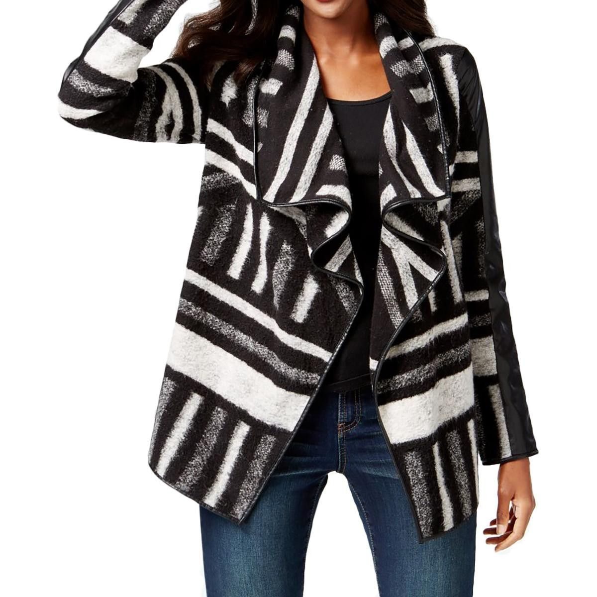 Womens Printed Mixed Media Cardigan Sweater | Products, Cardigans ...