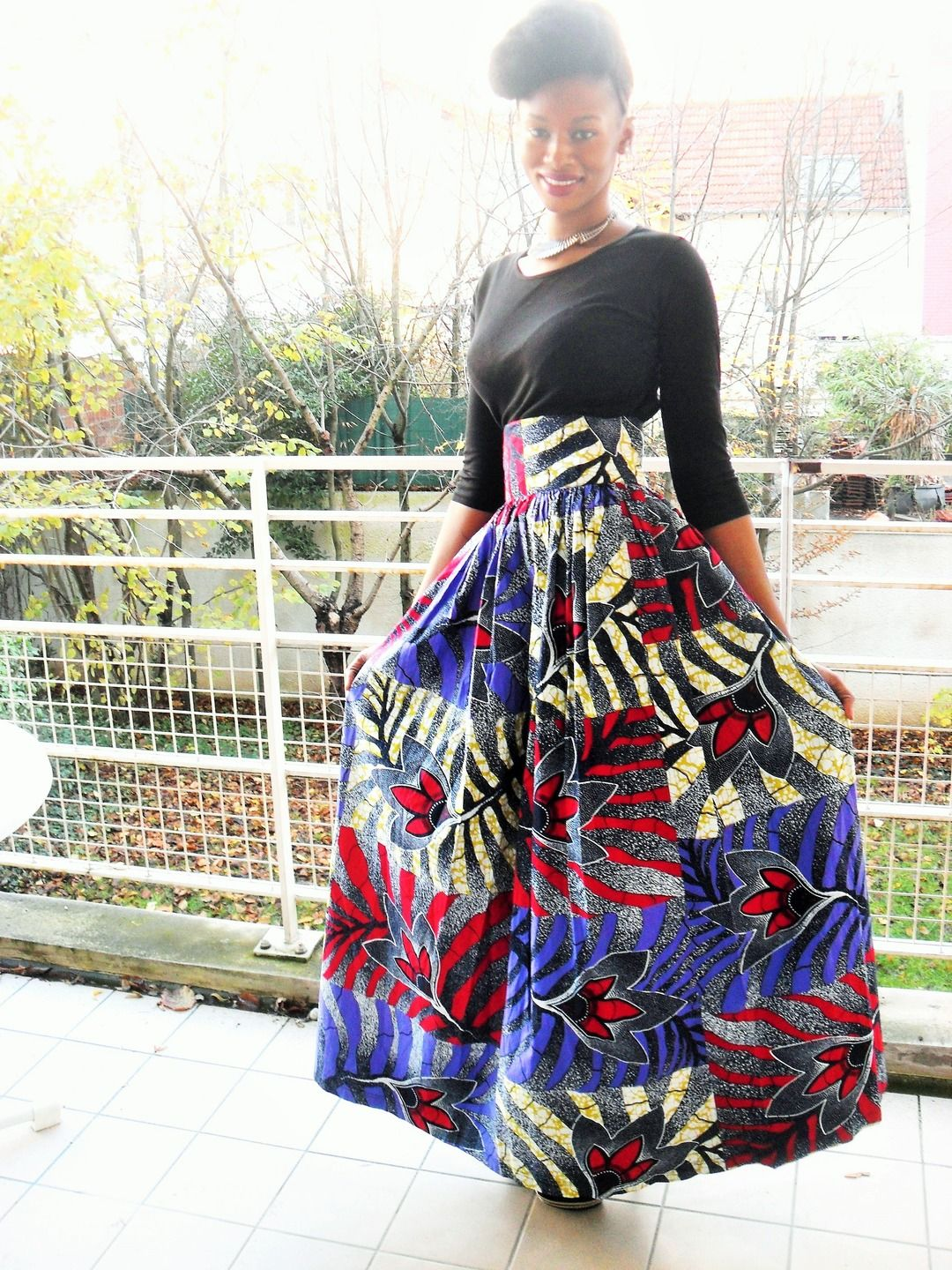 buy online shades of store Jupe longue taille haute froncée en wax ( pagne africain ...