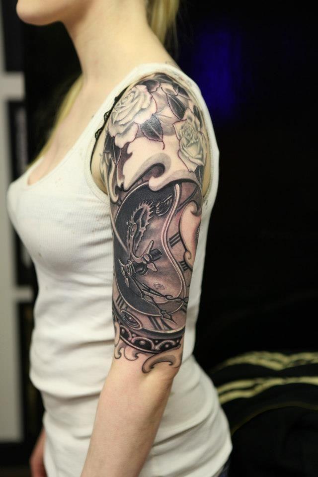 black and grey piece by Gino Angelov at Diamond Jacks Tattoo