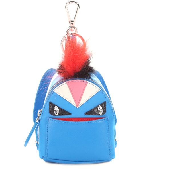Fendi Blue Fur Trimmed Nylon  monster Charm  Backpack Key Chain... ( 795) ❤  liked on Polyvore featuring accessories 7f592a89e3673
