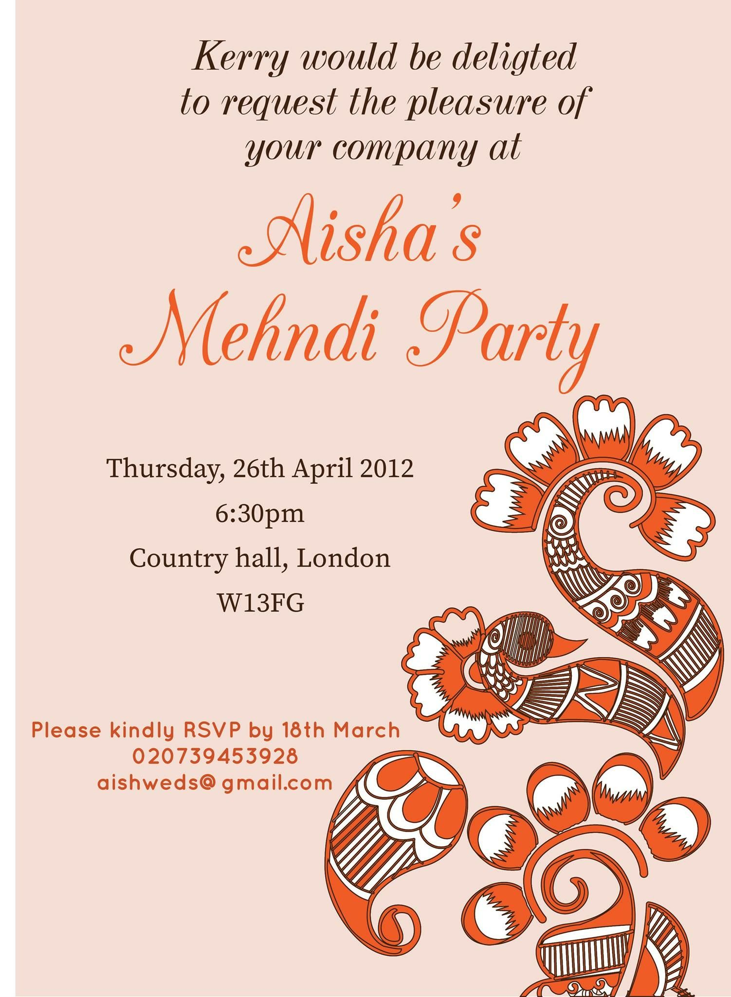 Mehndi Party Card : Pin by invite online on mehndi invitations wording