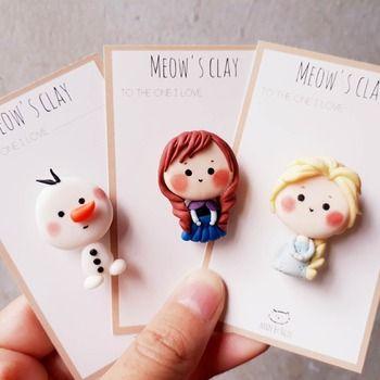 DIY Polymer Clay Disney Princess Magnet - Anna, Elsa & Olaf ( Frozen movie) Set