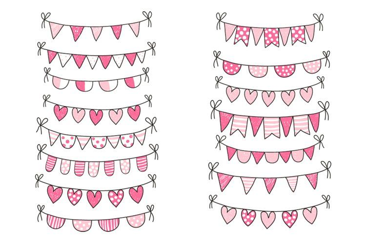 Cute Valentine Love Buntings Clipart Pink Clip Art 97230 Illustrations Design Bundles In 2021 Clip Art Banner Clip Art How To Draw Hands