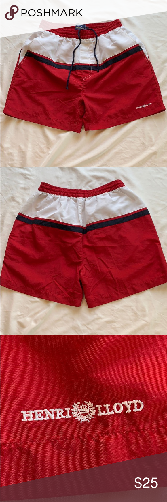 acf9c8d27a Men's Henri Lloyd swim shorts size medium Men's Henri Lloyd swim shorts  size medium Red, white, And black striped I turned them inside out so that  you could ...