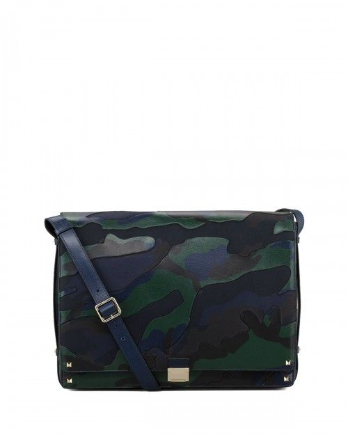 9b93bf85f46 Valentino Rockstud Camo Canvas Leather Messenger Bag Blue Green ...