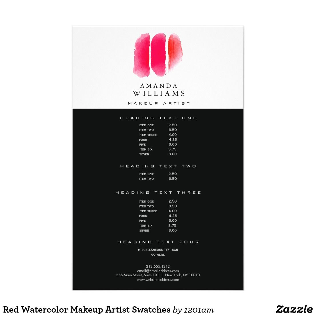 Red Watercolor Makeup Artist Swatches Flyer