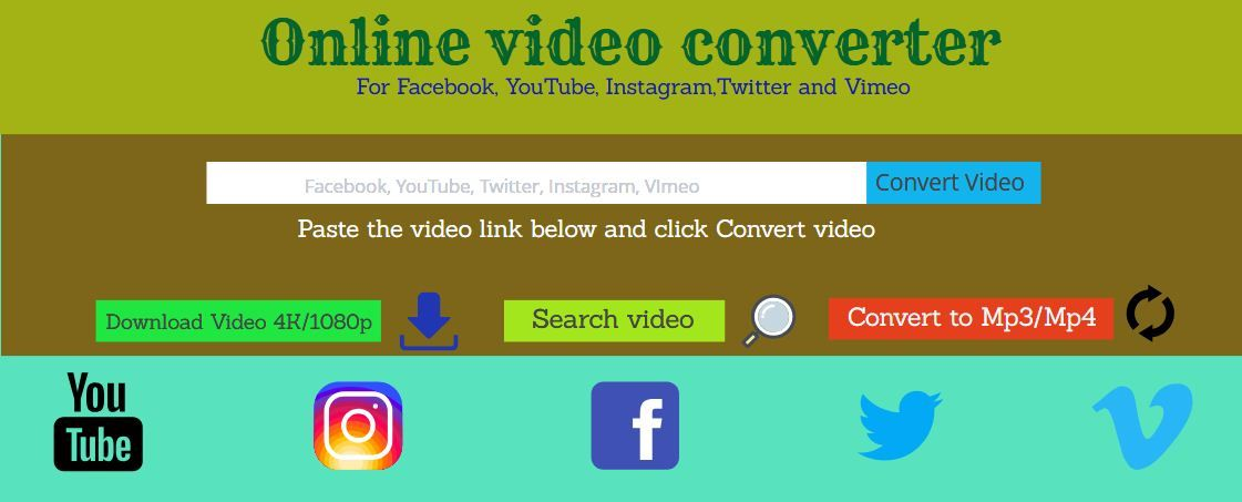 Online Video Converter For Facebook Youtube Twitter Vimeo And Instagram Video Converter Video Online Vimeo