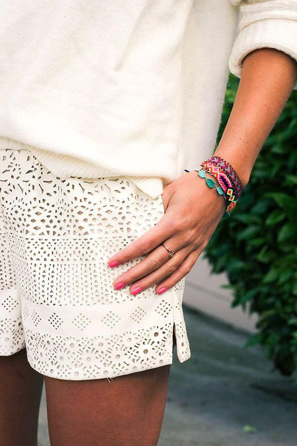 laser cut white shorts perfection