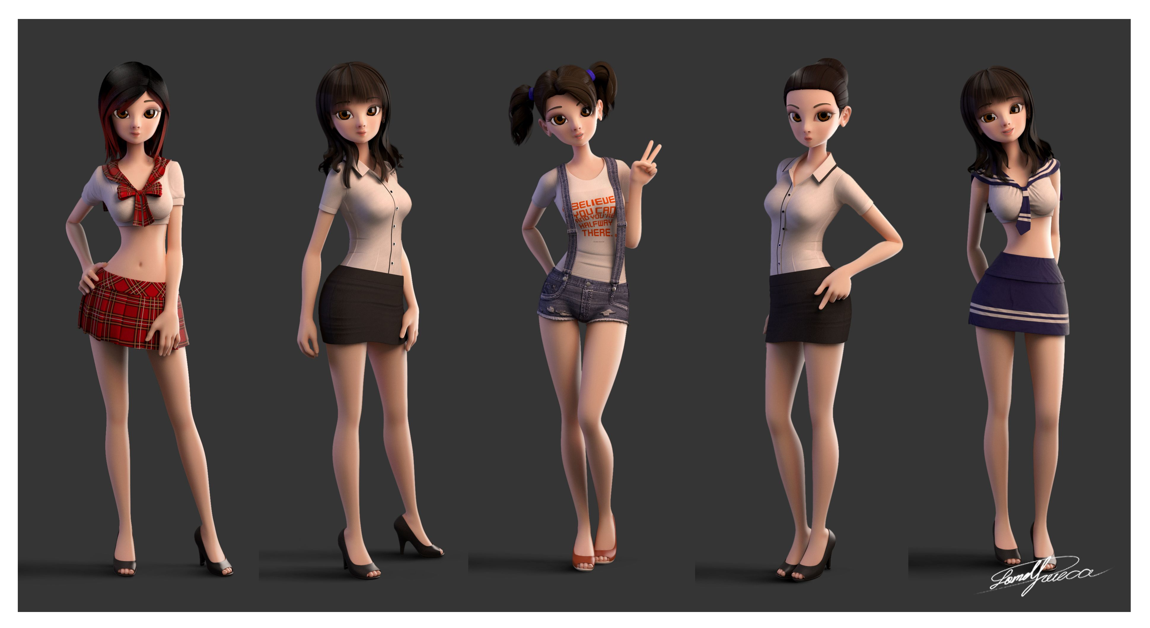 3D Asian Girl pin on 3d character rigs