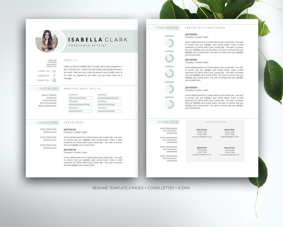 Resume template for MS Word - Resumes - Photoshop - Indesign - CV ...