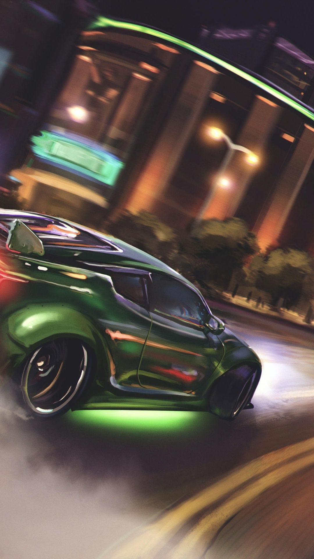 Drift Green Sports Car 1080x1920 Wallpaper Car Car Wallpapers