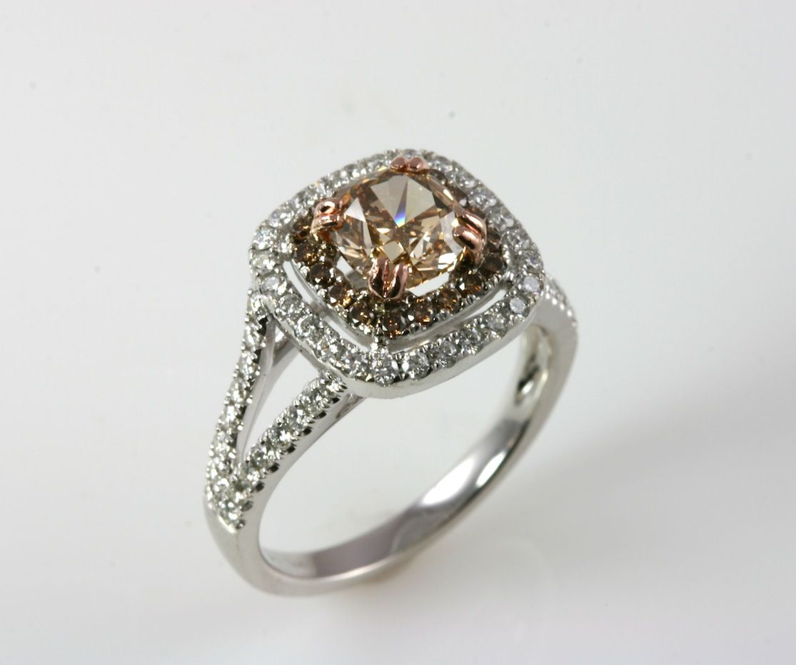 White gold double halo split shank ring with cushion cut chocolate ...