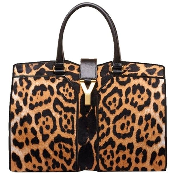 Pre-owned Saint Laurent Ysl Print Pony Hair Cabas Chyc Handbag ...