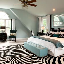 black white and teal bedroom. I love the rug. The teal needs ...