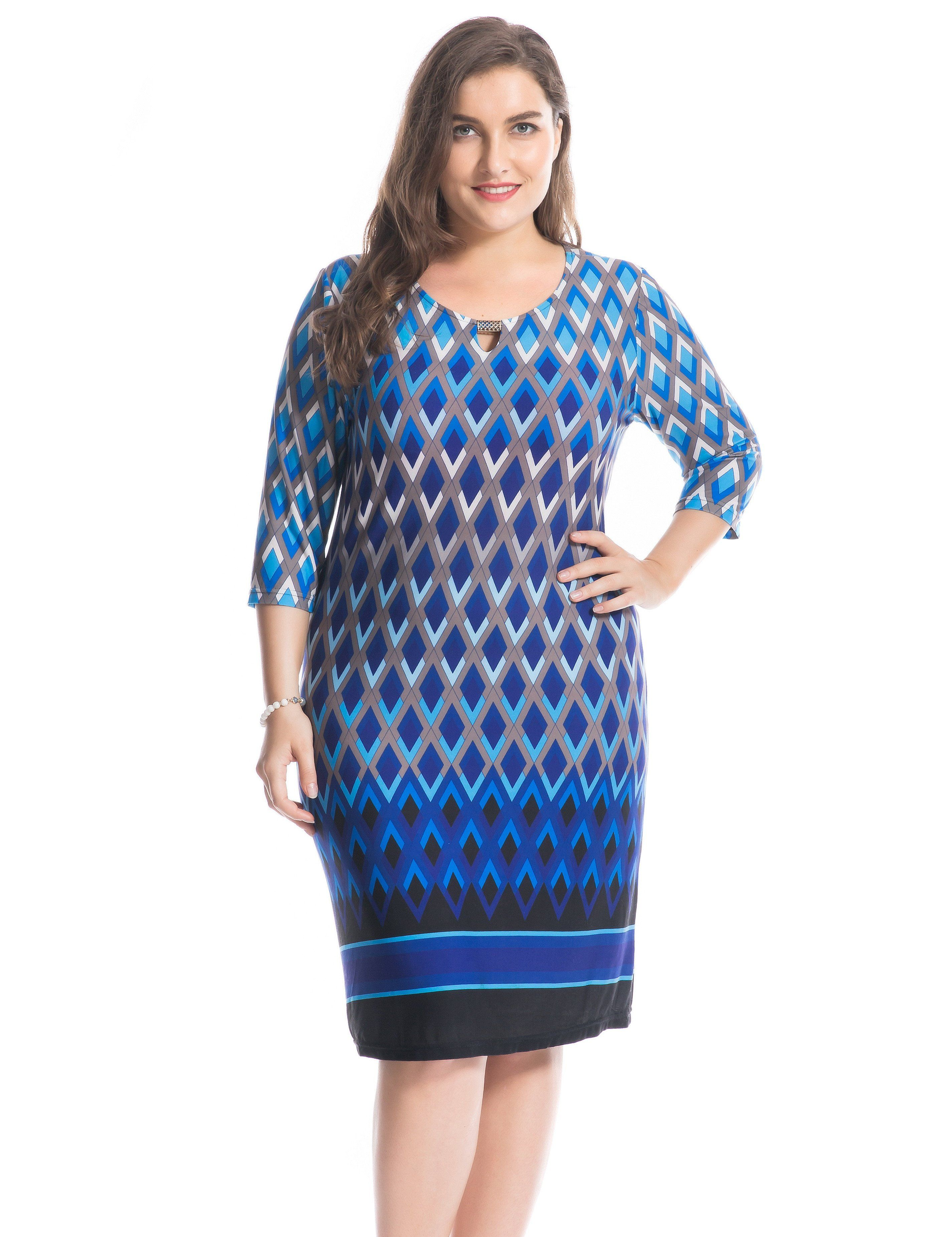 Keyhole neck with metal trim border plus size dress sizes in