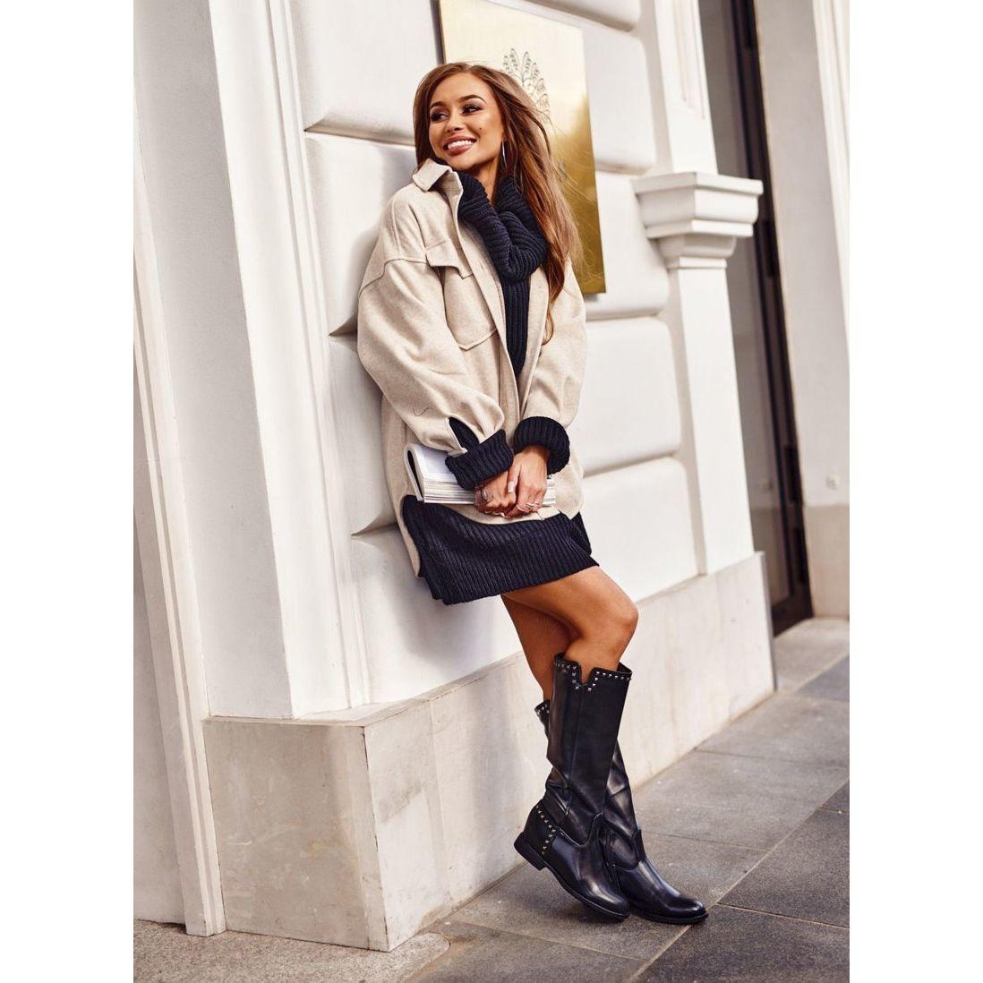 Ps1 Damskie Ocieplane Kozaki Na Koturnie Dzety Czarne Karla Sweater Dress Fashion Boots