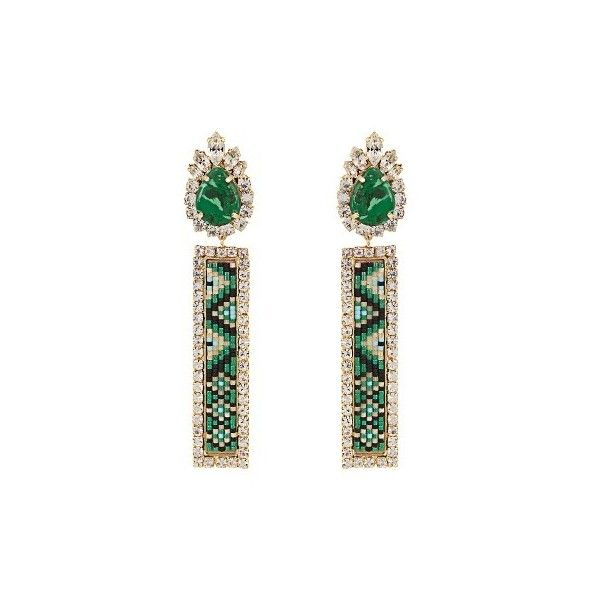 Shourouk Bastet clip-on earrings ($311) ❤ liked on Polyvore featuring jewelry, earrings, green, clip back earrings, clip earrings, green jewelry, beading jewelry and green earrings