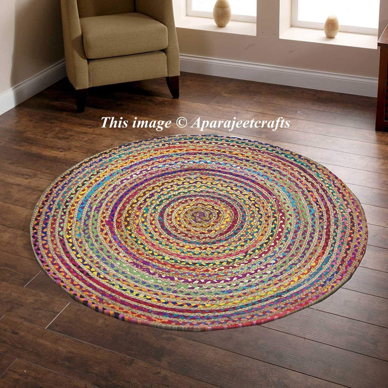 Indian Handmade Hand Braided Bohemian Cotton And Jute Area Rug Round Rug Multi Colors Home Decor Round Rugs S Braided Jute Rug Colorful Area Rug Rugs On Carpet
