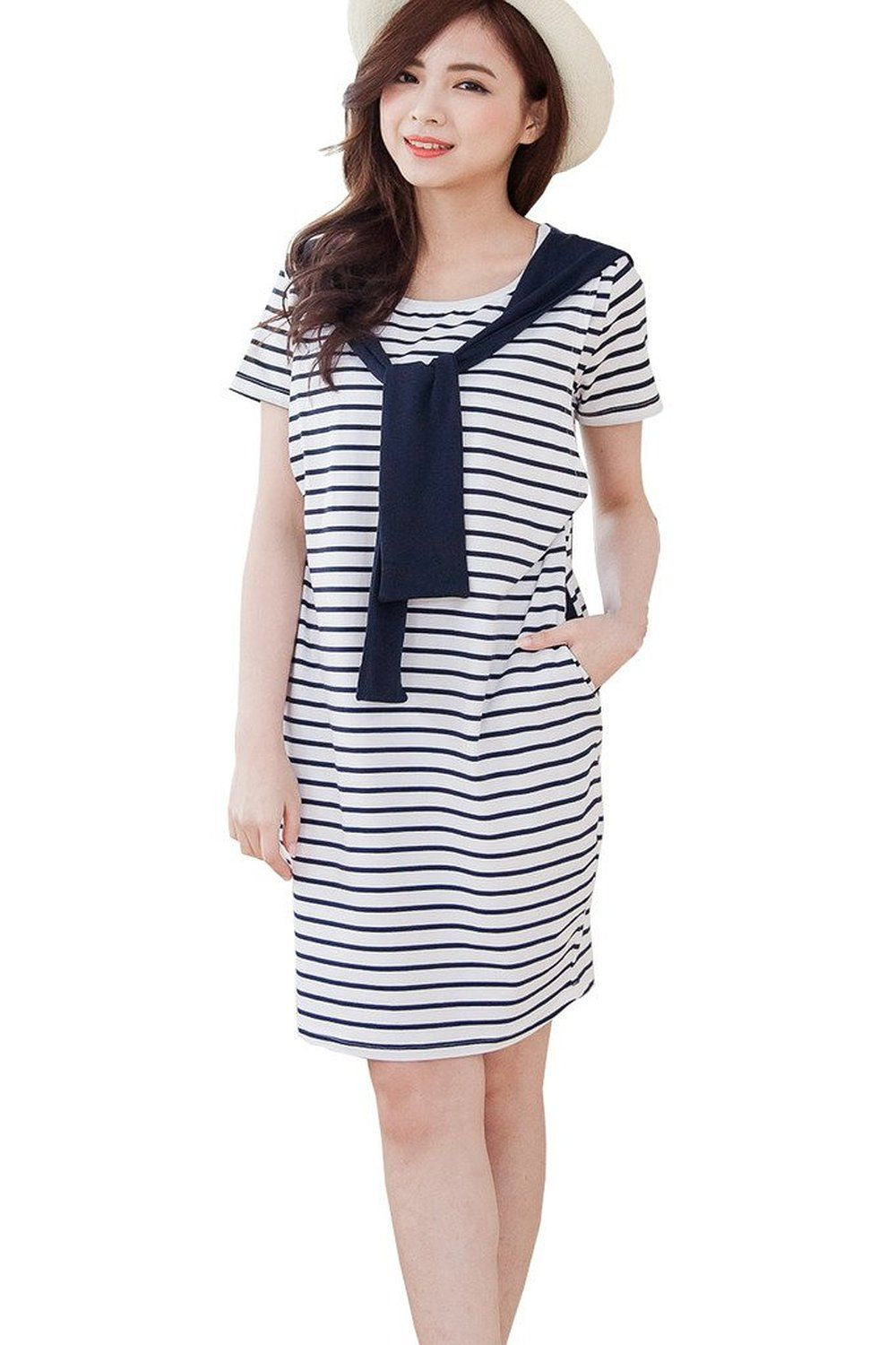 4d978797be54b Bearsland Women s Striped Pattern Short Sleeves Breastfeeding Nursing Dress  at Amazon Women s Clothing store