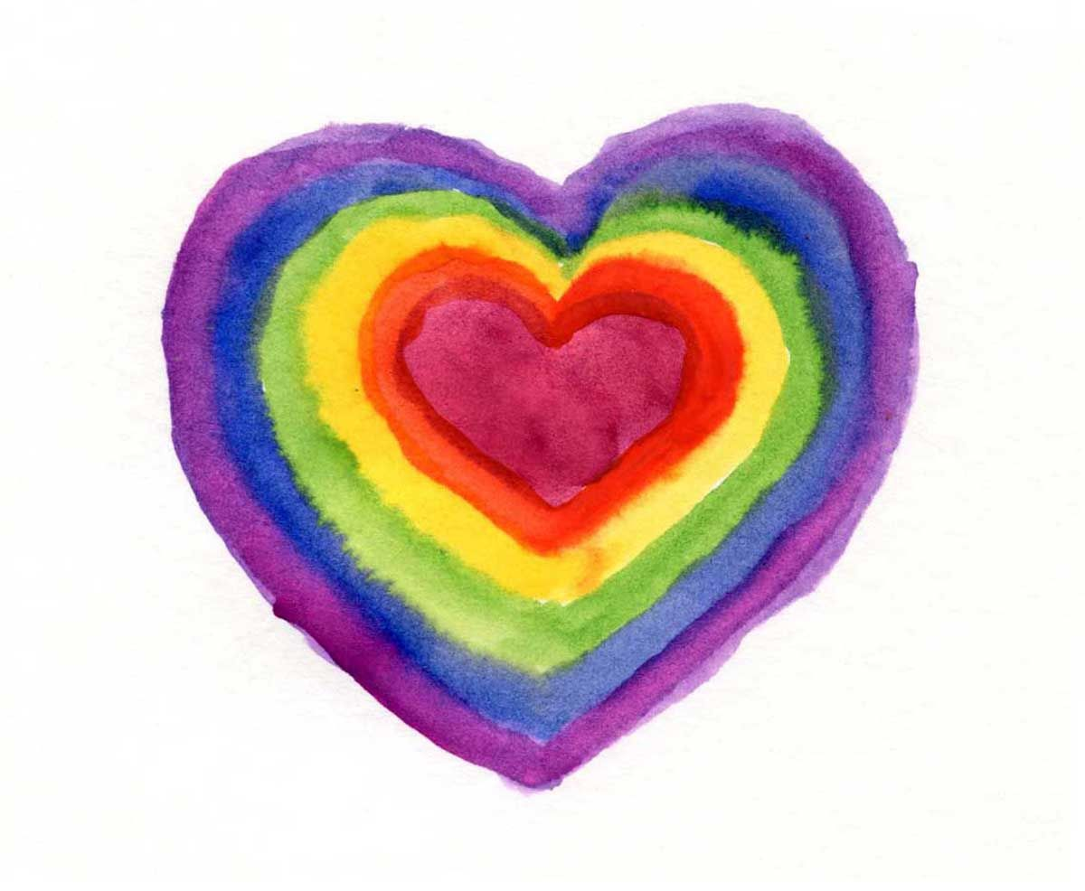 Cuadros al acuarela, corazón de arcoiris. | Cuadros Infantiles ...