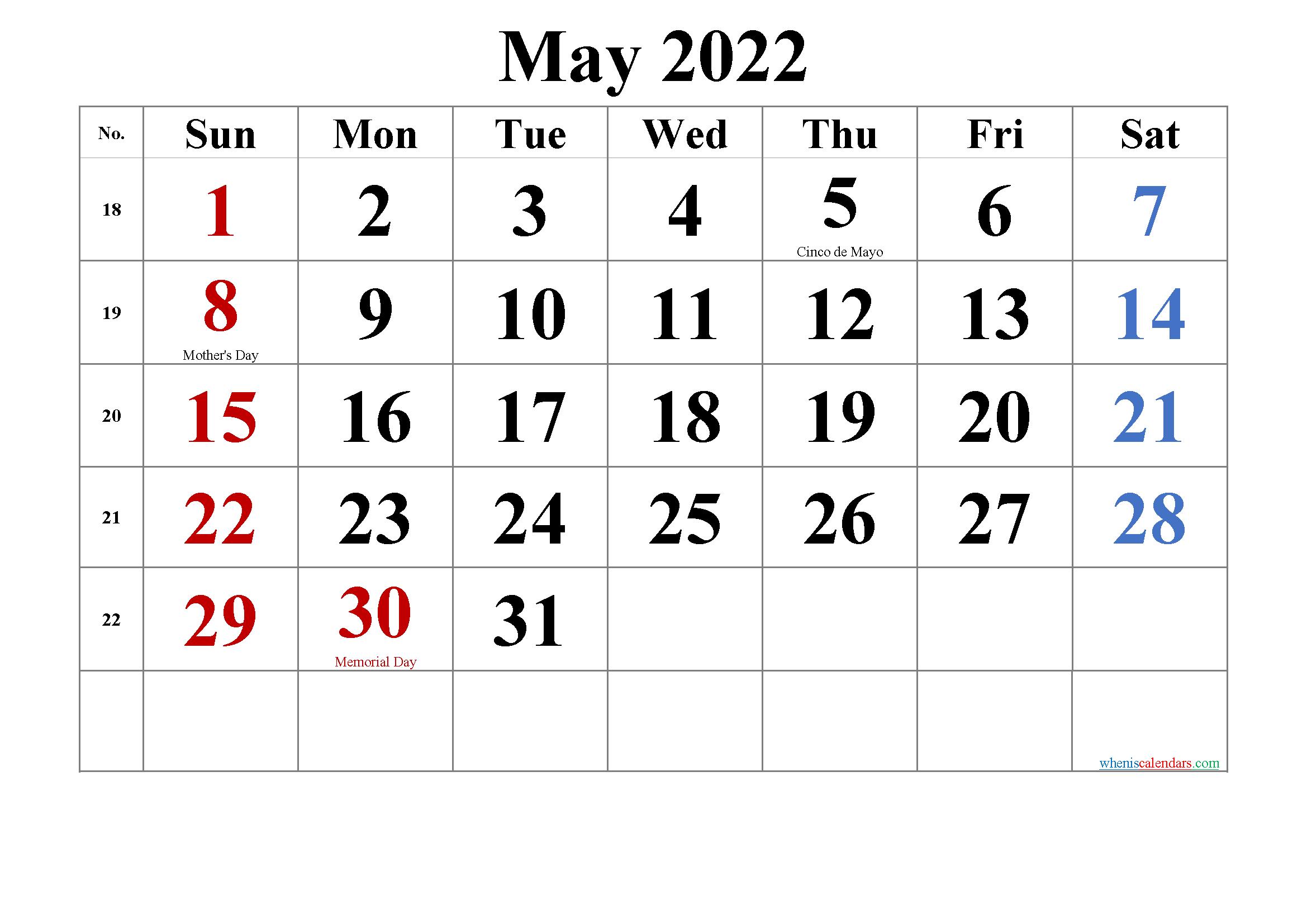 May 2022 Printable Calendar.Free Printable May 2022 Calendar Printable Calendar Printable Calendar Template Monthly Calendar Printable