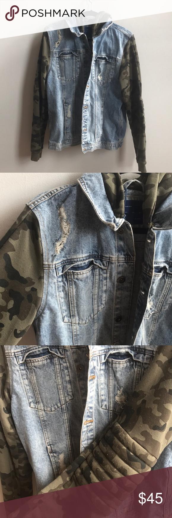 Zara Men S Camo Jean Jacket Camo Jeans Zara Jackets Jean Jacket [ 1740 x 580 Pixel ]