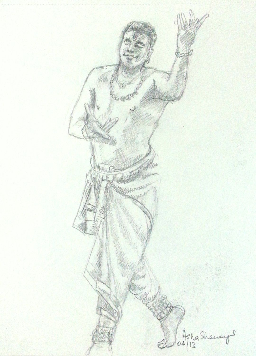 Original gift art black and white wall art wall decor pencil sketch indian classical male dancer pencil drawing wall art table art gift art by artbyashaa on