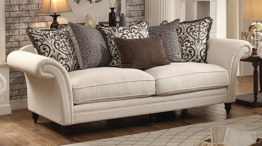 Vicarrage Elegant Cream Fabric Pillow Back Sofa Classy Furniture Sofa Sofa Furniture