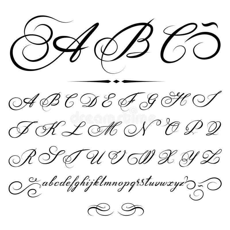 Foto Circa Vector L Alfabeto Calligrafico Disegnato A Mano Basato