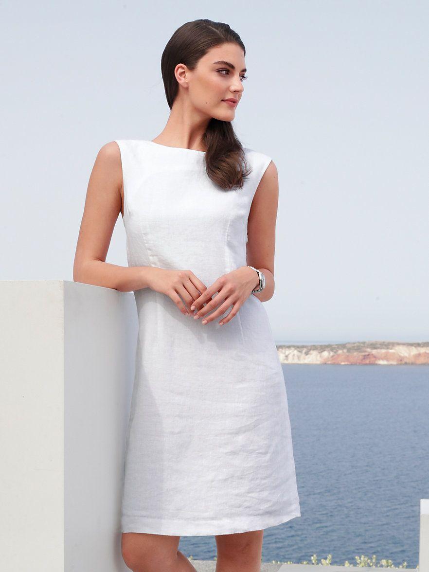 Peter Hahn - Ärmelloses Kleid aus 18% Leinen - Weiß  Kleider