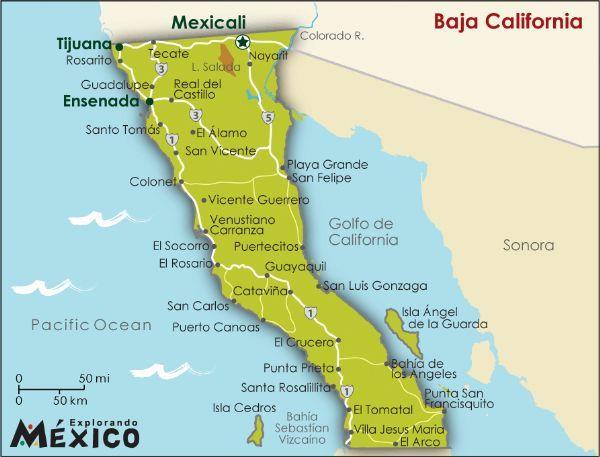 Baja Californiamexico De Estados Mexicanos Mapa De Baja - Mapa de california