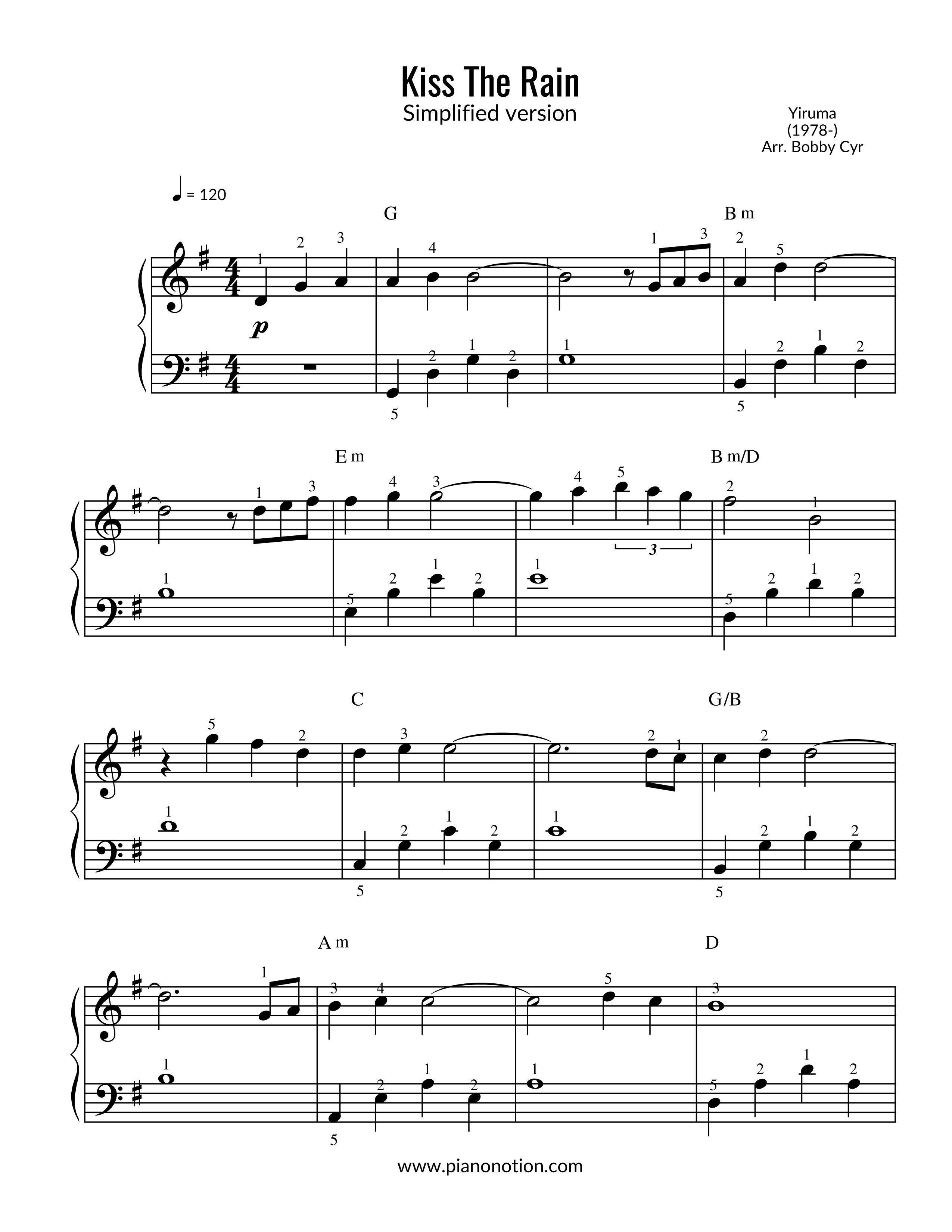 Kiss The Rain Yiruma With Images Sheet Music