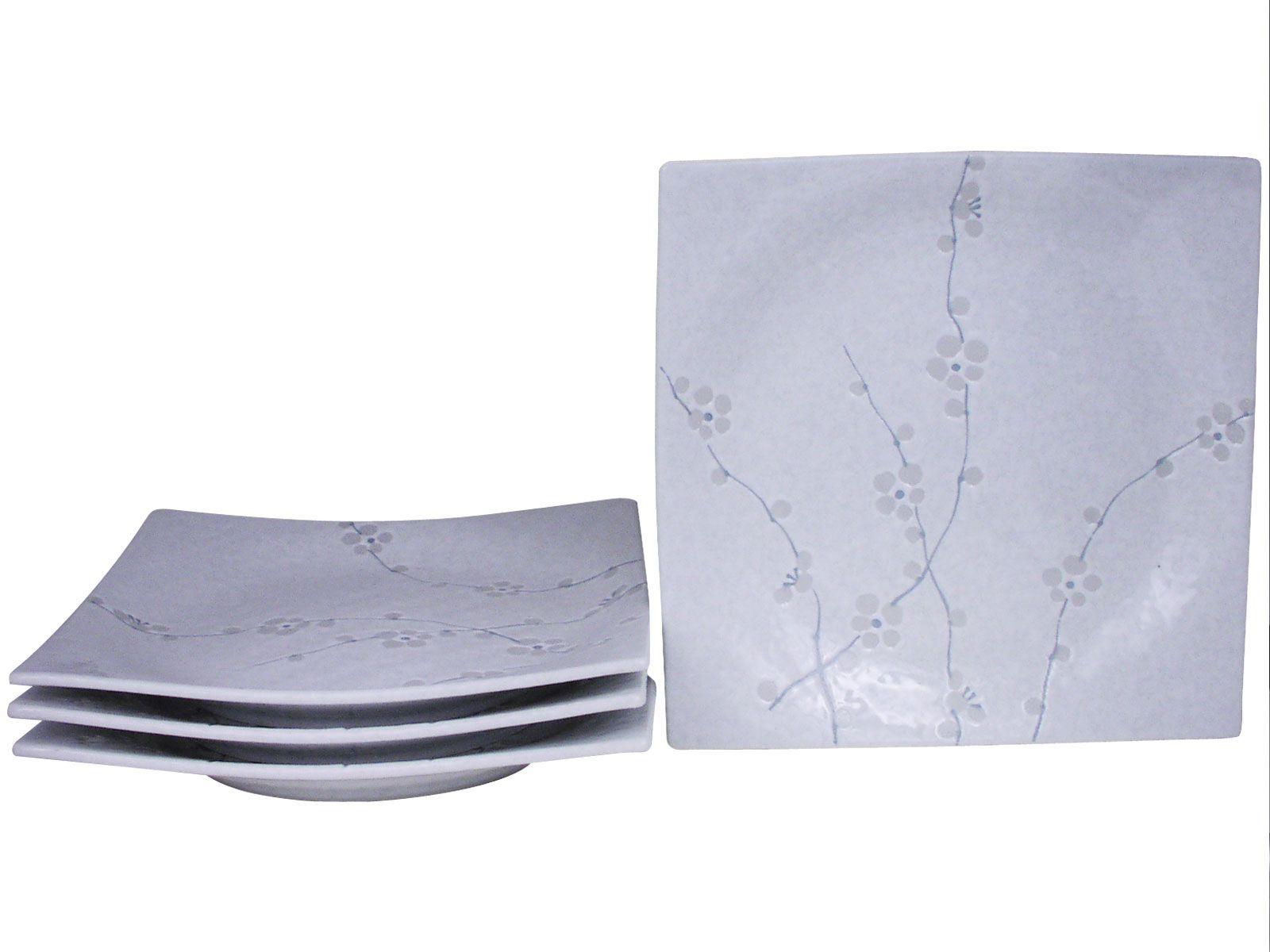 Minimalist White Cherry Blossom Square Dinner Plate Set Of Four White Cherry Blossom Dinner Plate Sets Dinner Plates