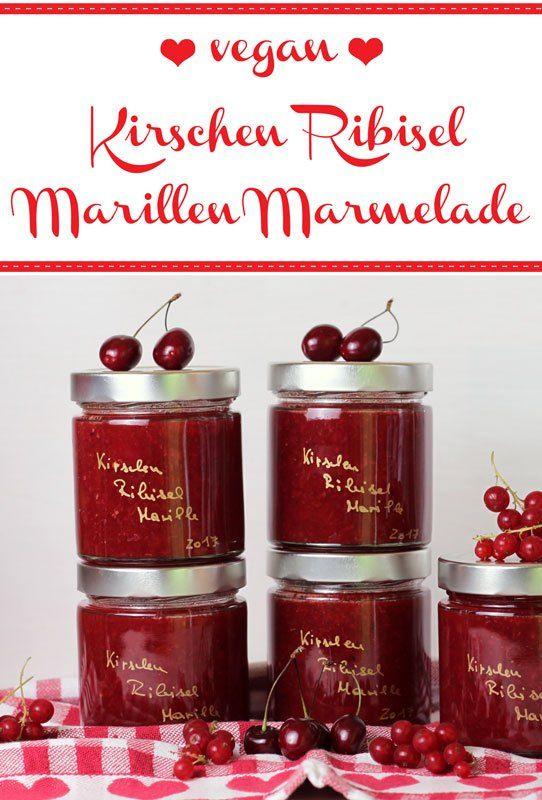 Kirschen Ribisel Marillen Marmelade - Freude am Kochen vegan - selbstgemachtes aus der küche