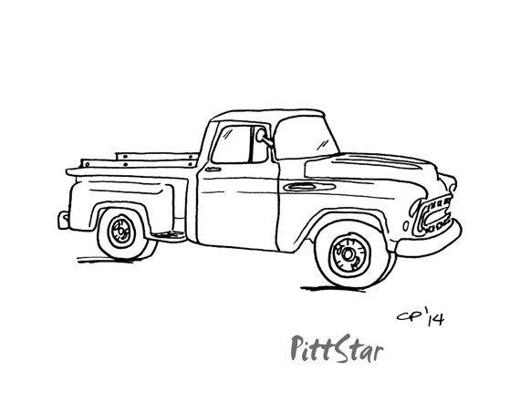 Digital Line Art Vintage 57 Chevy Pickup Printable By Pittstar Vintage Pickup Trucks Chevy Trucks Pickup Trucks