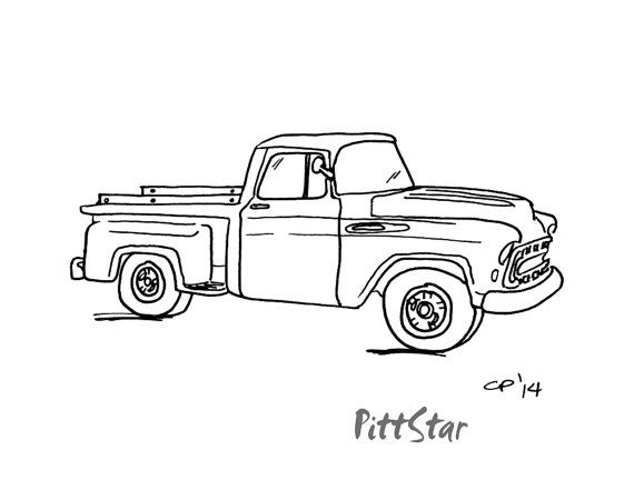 Digital Line Art Vintage 57 Chevy Pickup Printable By Pittstar