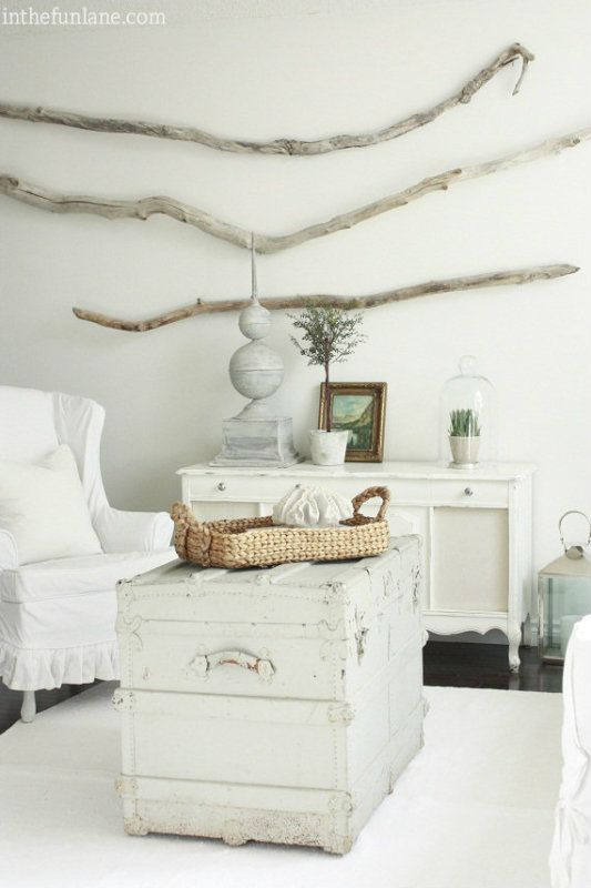 Driftwood Wall Art Painted Trunk What A Great Combo For Beach
