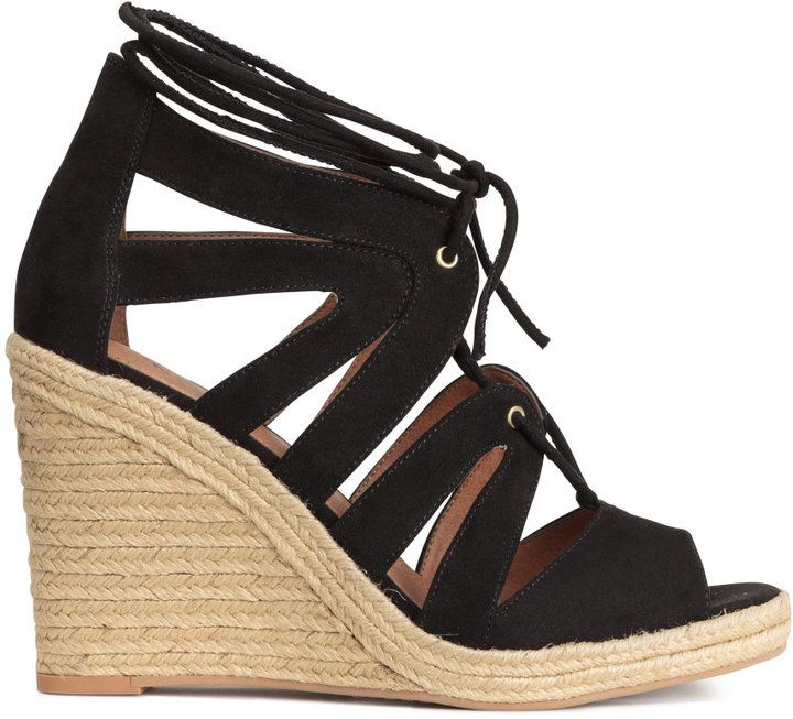 d3e3a097fab H M - Wedge-heeled Sandals - Black - Ladies  sandals  h  m