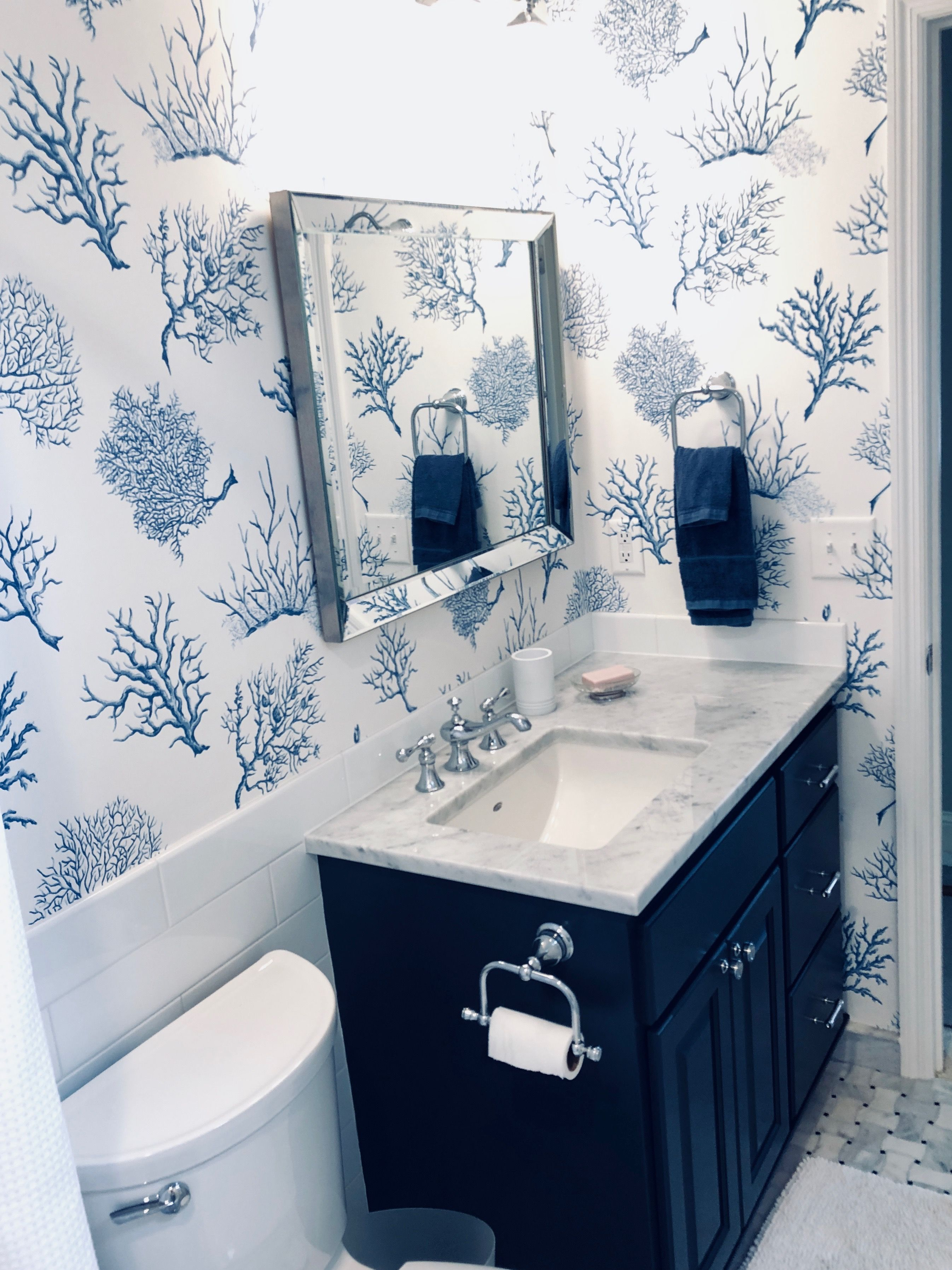 Hale Navy Vanity Thibault Fan Coral Wallpaper In Navy Blue