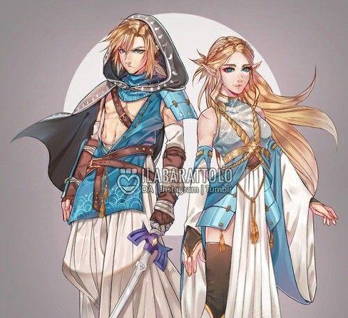 Link and Zelda billowy desert clothes   Legend of Zelda