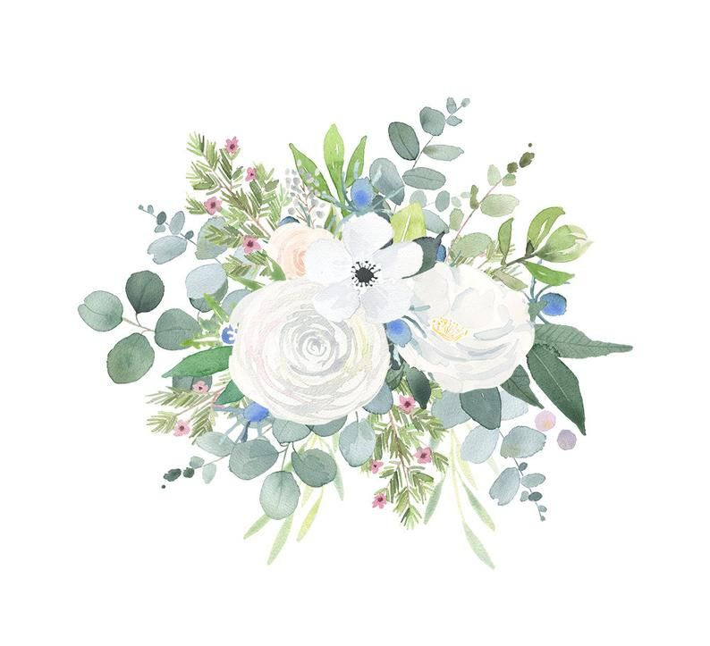 Floral Bouquet Clipart Watercolor Clip Art Flower Png Files With White Roses Thistles And Eucalyptus Leaves Watercolor Flowers Art Bundle Floral Watercolor