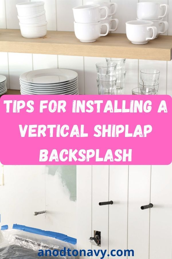Check out the amazing transformation in this kitchen! Vertical shiplap backsplashes are a fun alternative to tile. This tutorial gives you step by step instructions based on how we installed ours! #farmhousekitchen #cottagekitchen #diybacksplash #shiplap #shiplapbacksplash #modernfarmhousekitchen #modernkitchen #diykitchenideas #diybacksplashideas #diydecor