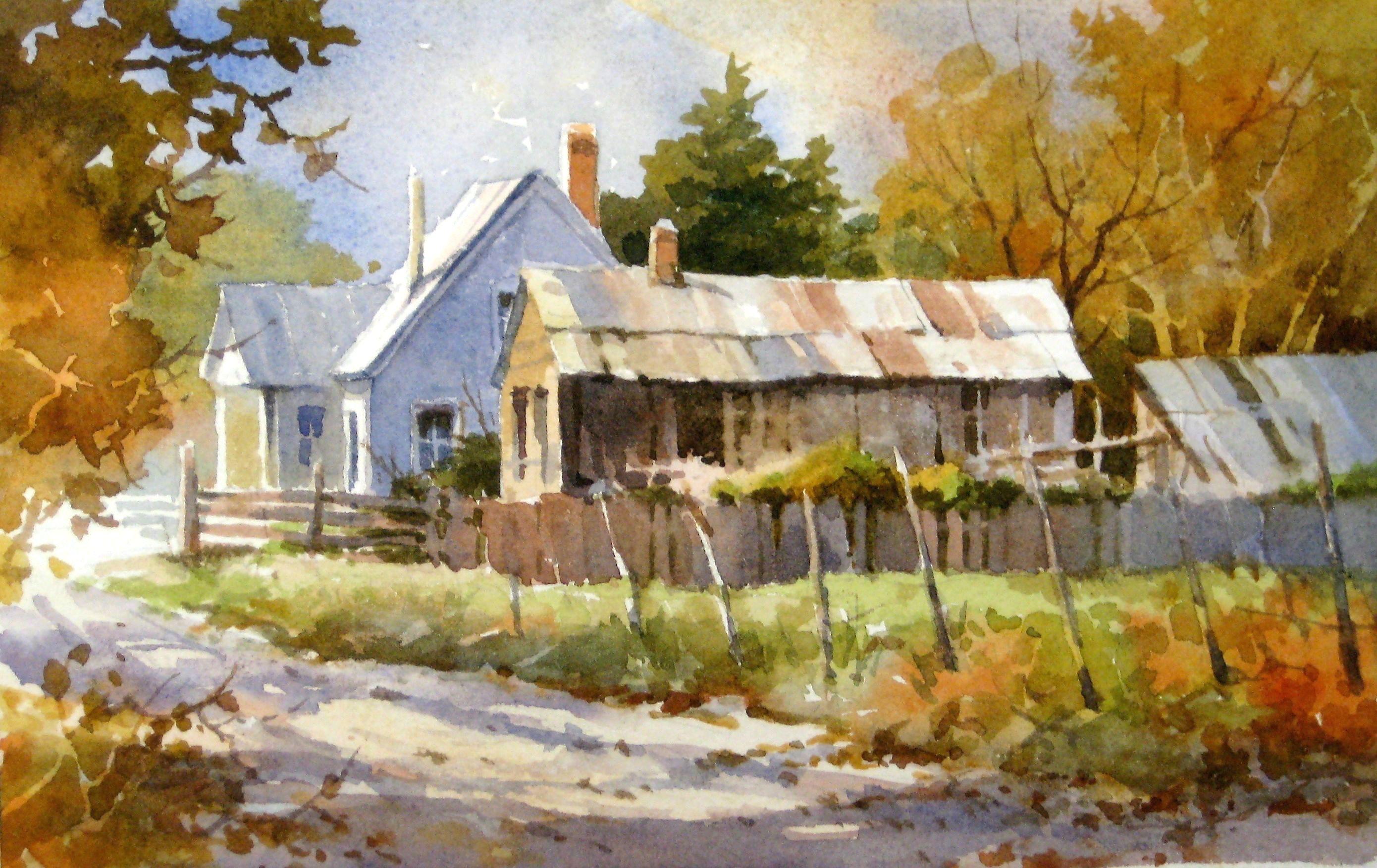 Осенние пейзажи акварелью картинки с домиками