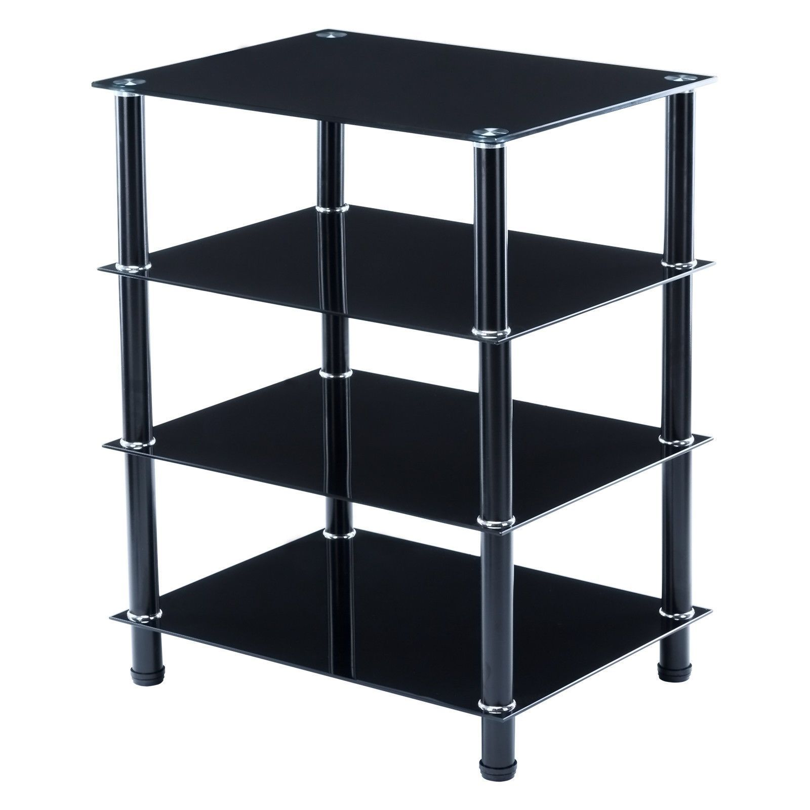 Glass console table with shelf bn black tempered glass tv stand shelves storage console table media