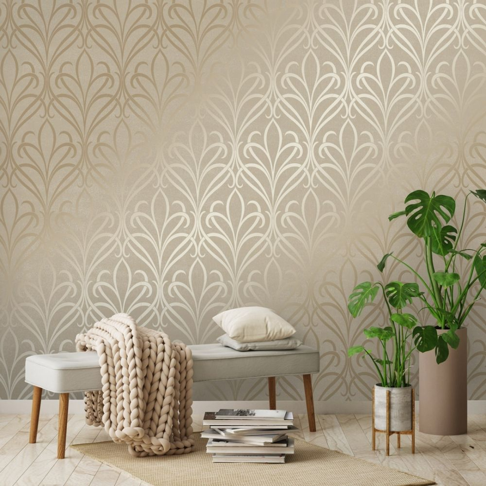 Camden Damask Wallpaper Cream Gold Damask Wallpaper Cream
