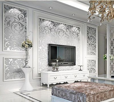 10m non woven silver gray gold glitter feature 3d embossed wallpaper rolls arte pinterest. Black Bedroom Furniture Sets. Home Design Ideas
